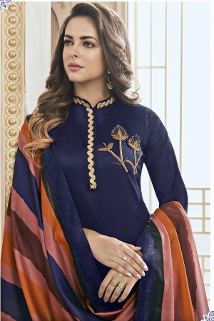 Classic Blue Jam Cotton Hand Work Butta on Top Salwar Kameez