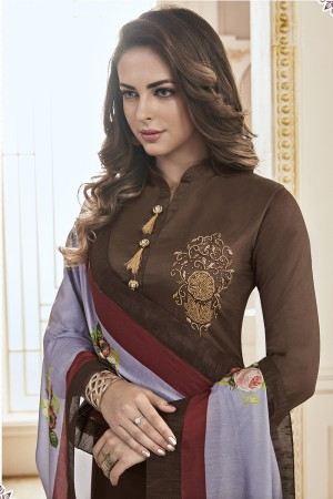 Classy Brown Jam Cotton Hand Work Butta on Top Salwar Kameez