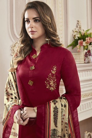Beguiling Maroon Jam Cotton Hand Work Butta on Top Salwar Kameez