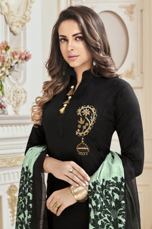 Alluring Black Jam Cotton Hand Work Butta on Top Salwar Kameez