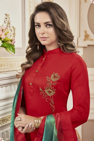 Enriching Red Jam Cotton Hand Work Butta on Top Salwar Kameez