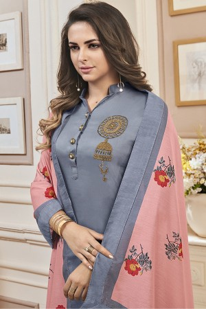 Fantastic Grey Jam Cotton Hand Work Butta on Top Salwar Kameez