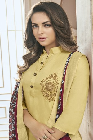 Fantastic Light Yellow Jam Cotton Hand Work Butta on Top Salwar Kameez