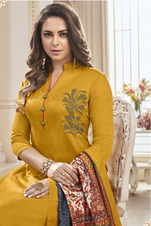 Glossy Yellow Jam Cotton Hand Work Butta on Top Salwar Kameez