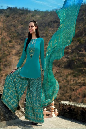 Aesthetic SkyBlue Pure Cotton Satin Heavy Embroidery on Neck and Sleeve with Digital Print Dupatta Dress Material