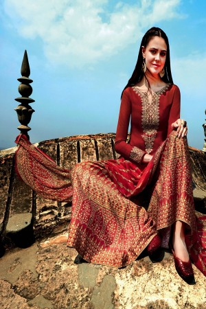 Beauteous Maroon Pure Cotton Satin Heavy Embroidery on Neck and Sleeve with Digital Print Dupatta Dress Material