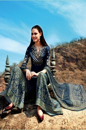 Amiable DarkBlue Pure Cotton Satin Heavy Embroidery on Neck and Sleeve with Digital Print Dupatta Dress Material