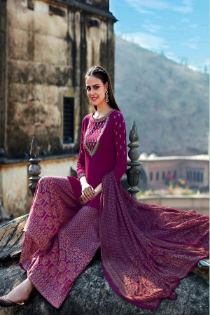 Adorable Wine Pure Cotton Satin Heavy Embroidery on Neck and Sleeve with Digital Print Dupatta Dress Material