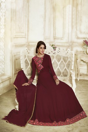 Amazing Maroon Georgette Heavy Embroidery on Neck and Sleeve with Lace Border Salwar Kameez