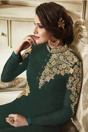 Appealing DarkGreen Georgette Heavy Embroidery on Neck and Sleeve with Lace Border Salwar Kameez