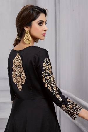 Exquisite Black Fobi Silk Heavy Embroidery on Sleeve and Butta Work in Back Side Salwar Kameez