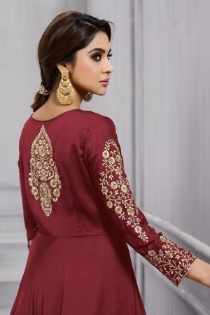 Contemporary Maroon Fobi Silk Heavy Embroidery on Sleeve and Butta Work in Back Side Salwar Kameez