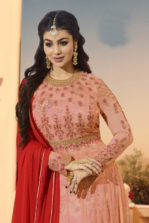 Ayesha Takia Peach Georgette Heavy Embroidery on Neck and Sleeve with Kali Work Salwar Kameez