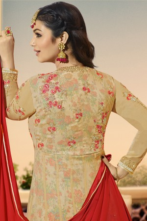 Ayesha Takia Cream Georgette Heavy Embroidery on Neck and Sleeve with Kali Work Salwar Kameez