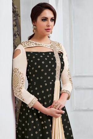 Vibrant Black Tafetta Silk Heavy Embroidery on Neck and Sleeve Salwar Kameez