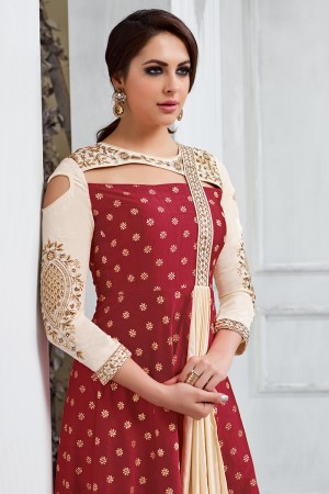 Marvelous Maroon Tafetta Silk Heavy Embroidery on Neck and Sleeve Salwar Kameez