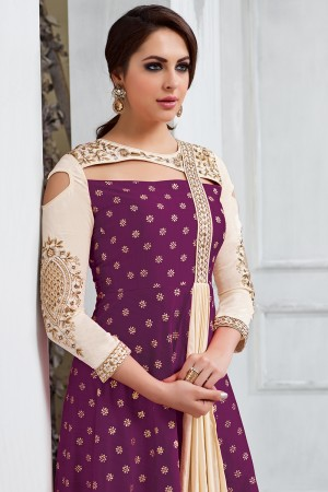 Rust Wine Tafetta Silk Heavy Embroidery on Neck and Sleeve Salwar Kameez