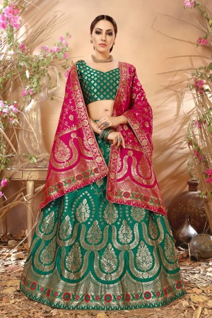 Enthralling Green Banarasi Silk Jacquard Work Banarasi Jacquard Lehenga Choli