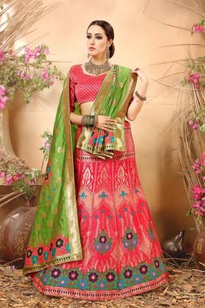 Stunning Peach Banarasi Silk Jacquard Work Banarasi Jacquard Lehenga Choli