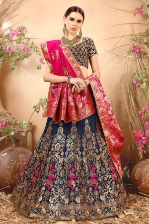 Luscious Blue Banarasi Silk Jacquard Work Banarasi Jacquard Lehenga Choli