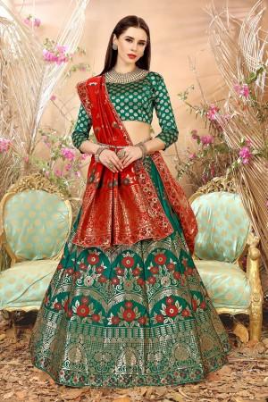 Angellic Dark Green Banarasi Silk Jacquard Work Banarasi Jacquard Lehenga Choli