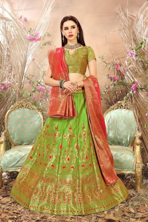 Engrossing Light Green Banarasi Silk Jacquard Work Banarasi Jacquard Lehenga Choli