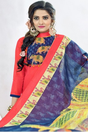Vibrant Peach Chanderi Plain Top with Digital Print Dupatta Dress Material
