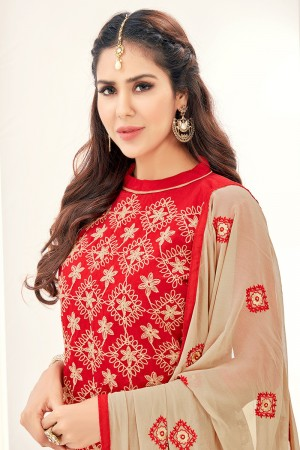 Voguish Chanderi Red Thread Embroidery with Embroidery Dupatta Dress Material
