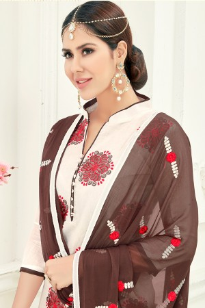 Enthralling Chanderi Cream Thread Embroidery with Embroidery Dupatta Dress Material