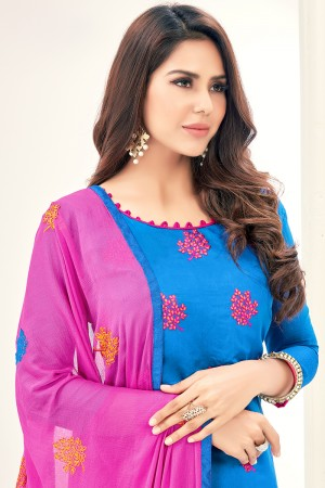 Captivating Chanderi SkyBlue Thread Embroidery with Embroidery Dupatta Dress Material