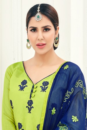Stunning Chanderi Green Thread Embroidery with Embroidery Dupatta Dress Material