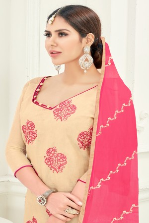 Luscious Chanderi Chiku Thread Embroidery with Embroidery Dupatta Dress Material
