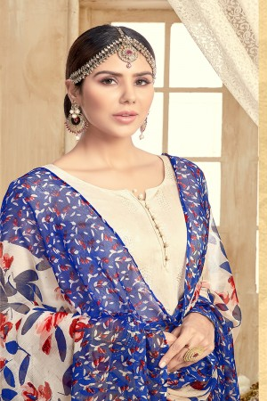 Divine Chanderi Offwhite Thread Embroidery with Print Dupatta Dress Material
