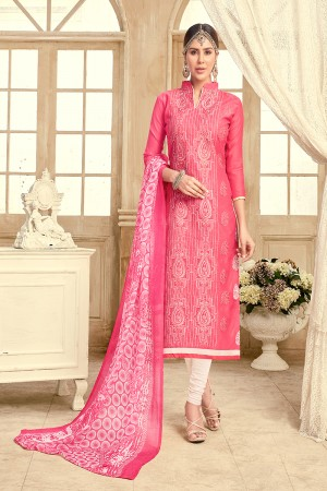 Desirable Chanderi Peach Thread Embroidery with Print Dupatta Dress Material