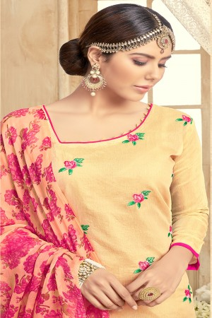 Designer Chanderi Light Yellow Thread Embroidery with Print Dupatta Dress Material