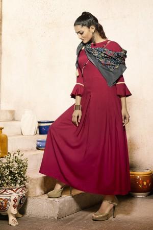 Breezy Maroon Rayon Plain  with Fancy Pattern Mal Cotton Scarf Kurti