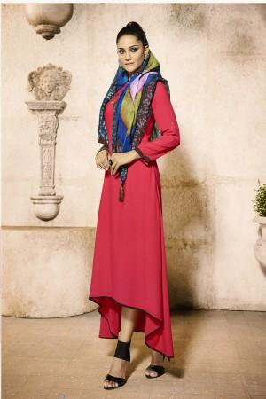 Dazzling Pink Rayon Plain  with Fancy Pattern Mal Cotton Scarf Kurti