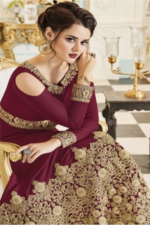 Blooming Maroon Georgette Heavy Embroidery Coding and Stone Work  Salwar Kameez