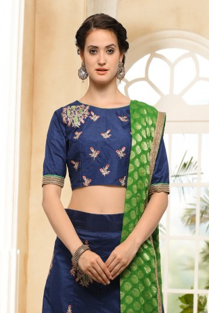 Miraculous Blue Silk Heavy Embroidery Coding and Stone Work Lehenga Choli