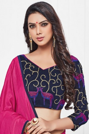 Enticing Rani Pink Silk Plain Saree with Embroidery Blouse Saree