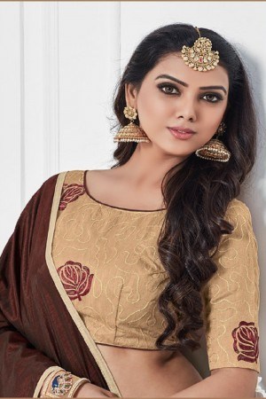 Mesmerising Brown Silk Plain Saree with Embroidery Blouse Saree