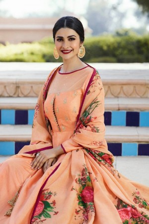 Prachi Desai Light Orange Silk Embroidery Butti Work on Neck with Digital Print Dupatta Anarkali Gown