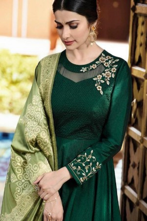 Prachi Desai Dark Green Silk Zari Embroidery Work on Sleeve and Neck Anarkali Gown