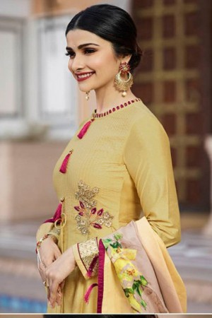 Prachi Desai Yellow Silk Embroidrery Patch Work Anarkali Gown