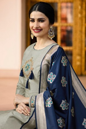 Prachi Desai Grey Silk Embroidery Butta On Neck and Sleeve  Anarkali Gown