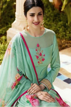 Prachi Desai Pista Green Silk Embroidery Butta On Neck and Sleeve  Anarkali Gown