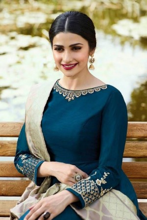 Prachi Desai Blue Silk Zari Embroidery Work on Sleeve with Lace Border Anarkali Gown