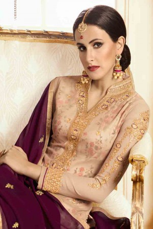 Engrossing Peach Georgette Heavy Embroidery on Neck and Sleeve with Embroidery Dupatta  Salwar Kameez