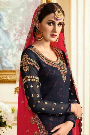Ambitious Black Georgette Heavy Embroidery on Neck and Sleeve with Embroidery Dupatta  Salwar Kameez