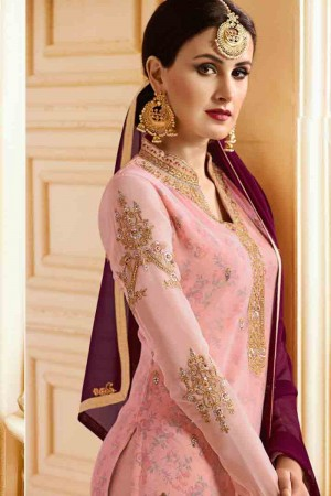 Astounding Pink Georgette Heavy Embroidery on Neck and Sleeve with Embroidery Dupatta  Salwar Kameez